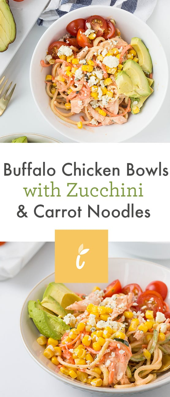 Buffalo Chicken Bowls with Zucchini & Carrot Noodles
