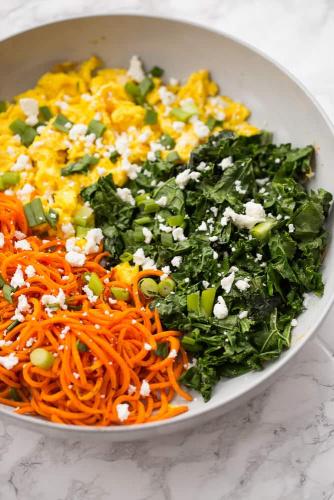 Kale, Sweet Potato Noodle, and Feta Scramble