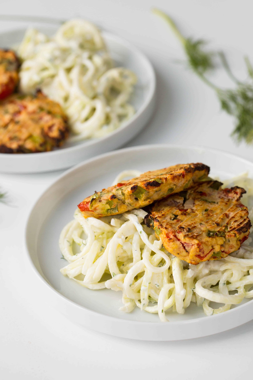 Tomatokeftedes with Tzatziki Zucchini Pasta