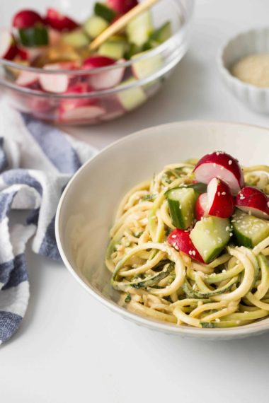 Almond-Sesame Zucchini Noodles with Quick Pickled Veggies