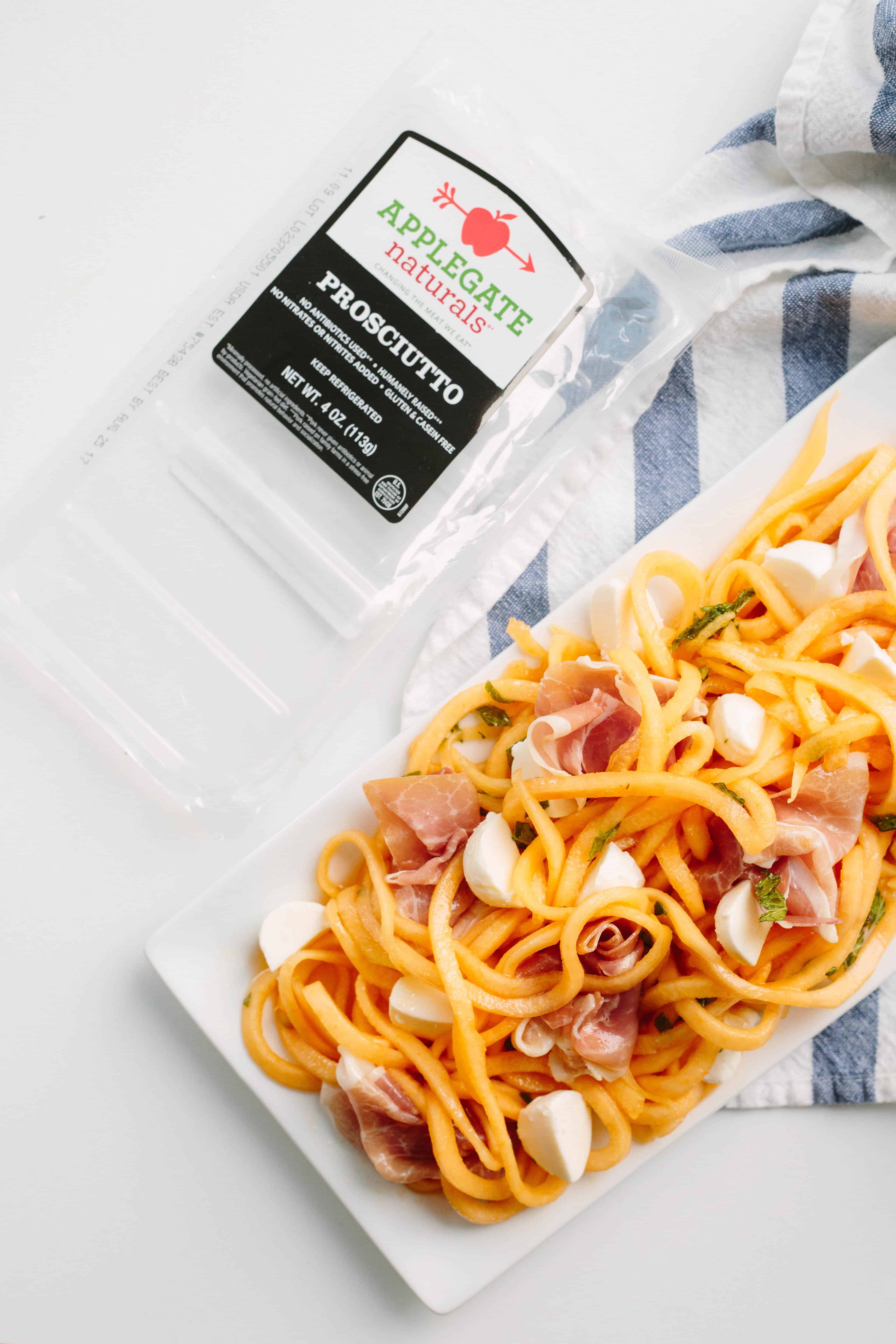 Spiralized Cantaloupe and Prosciutto Salad with Mozzarella