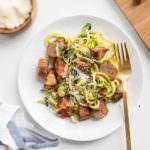 Chicken Sausage and Potato Zucchini Spaghetti with Basil and Tomatoes