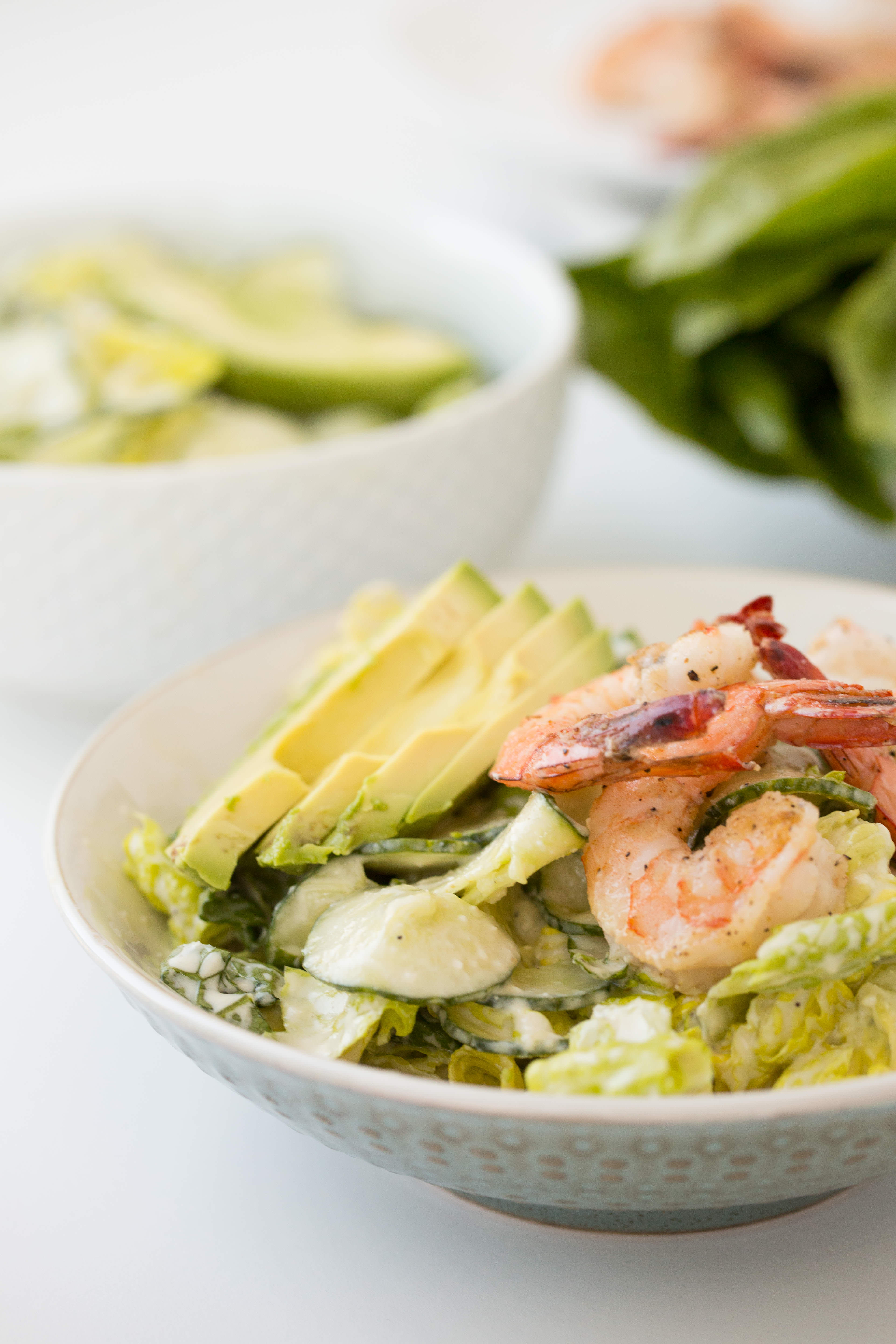 Shrimp and Cucumber Noodle Salad with Greek Yogurt Caesar Dressing