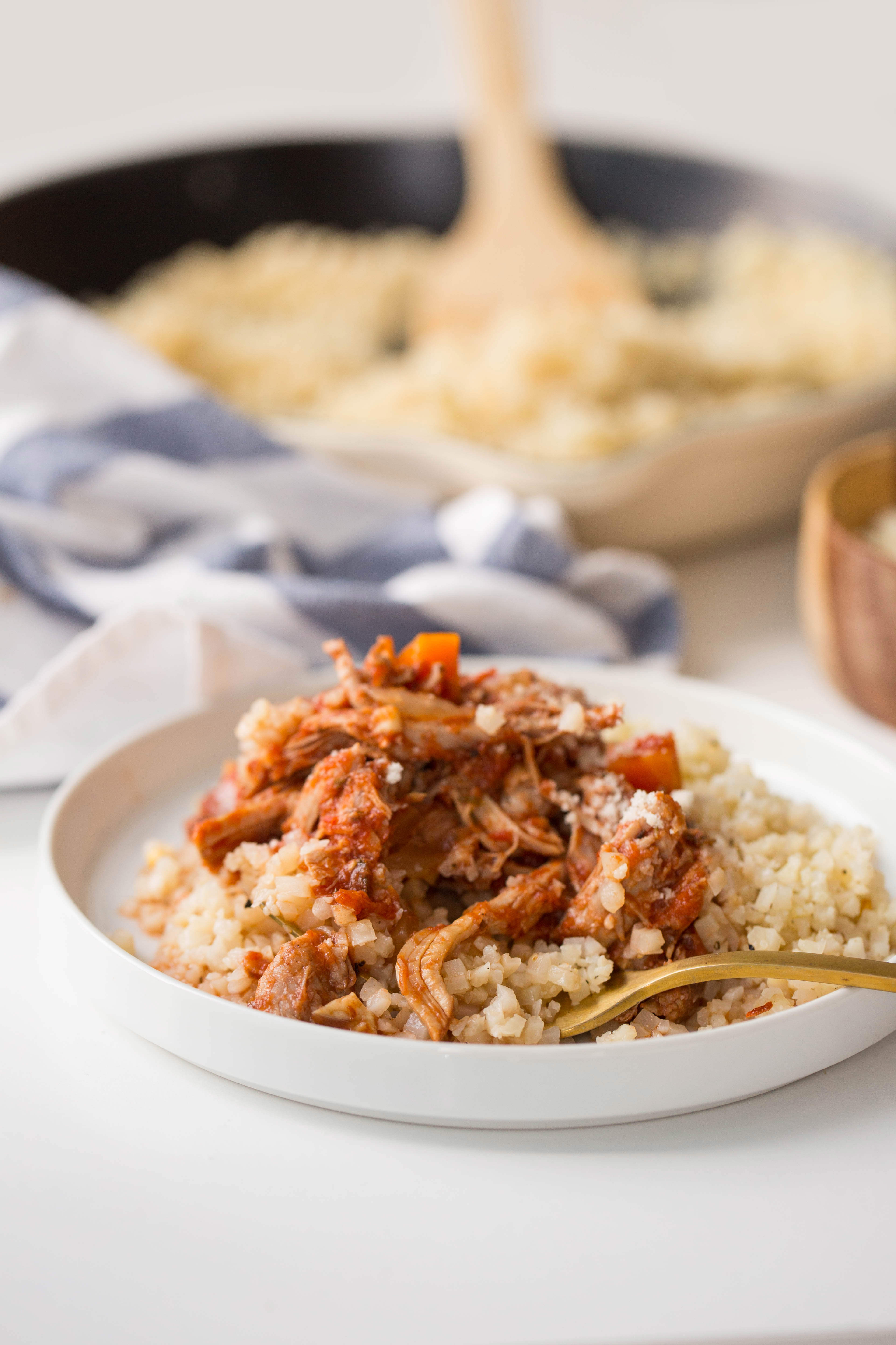 Italian Pork Ragu with Garlic Cauliflower Rice