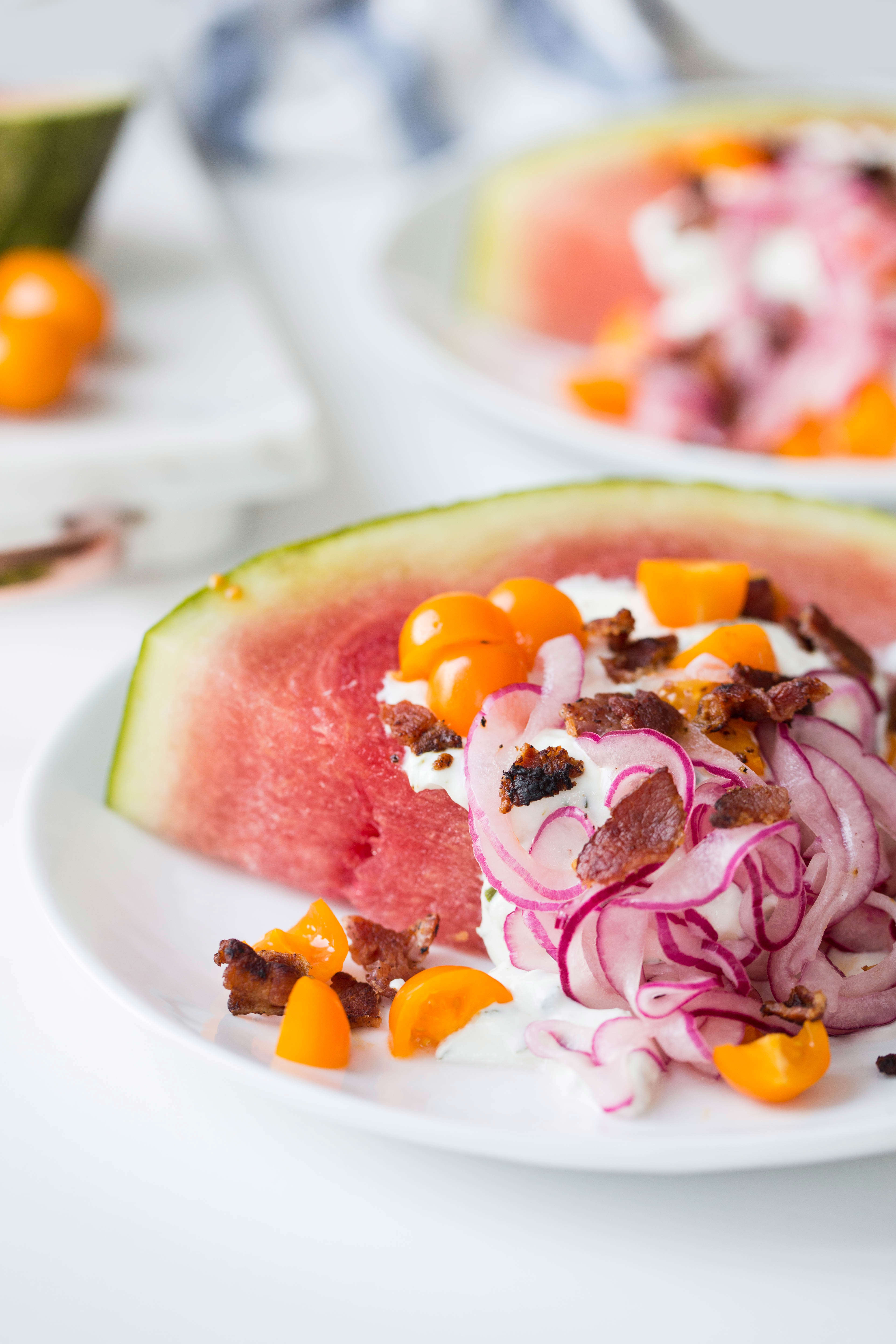 Watermelon Wedge Salads with Greek Yogurt Ranch and Quick-Pickled Onions