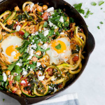 Harissa Zucchini Noodle and Kale Skillet with Feta