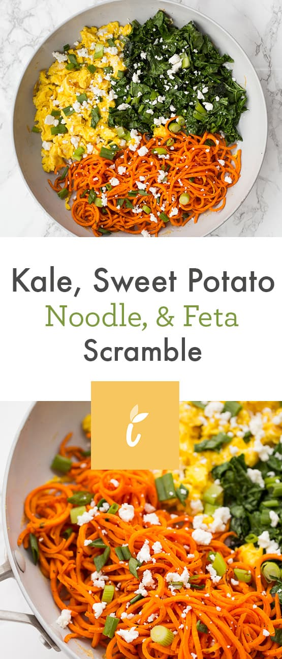 Kale, Sweet Potato Noodle, and Feta Scramble