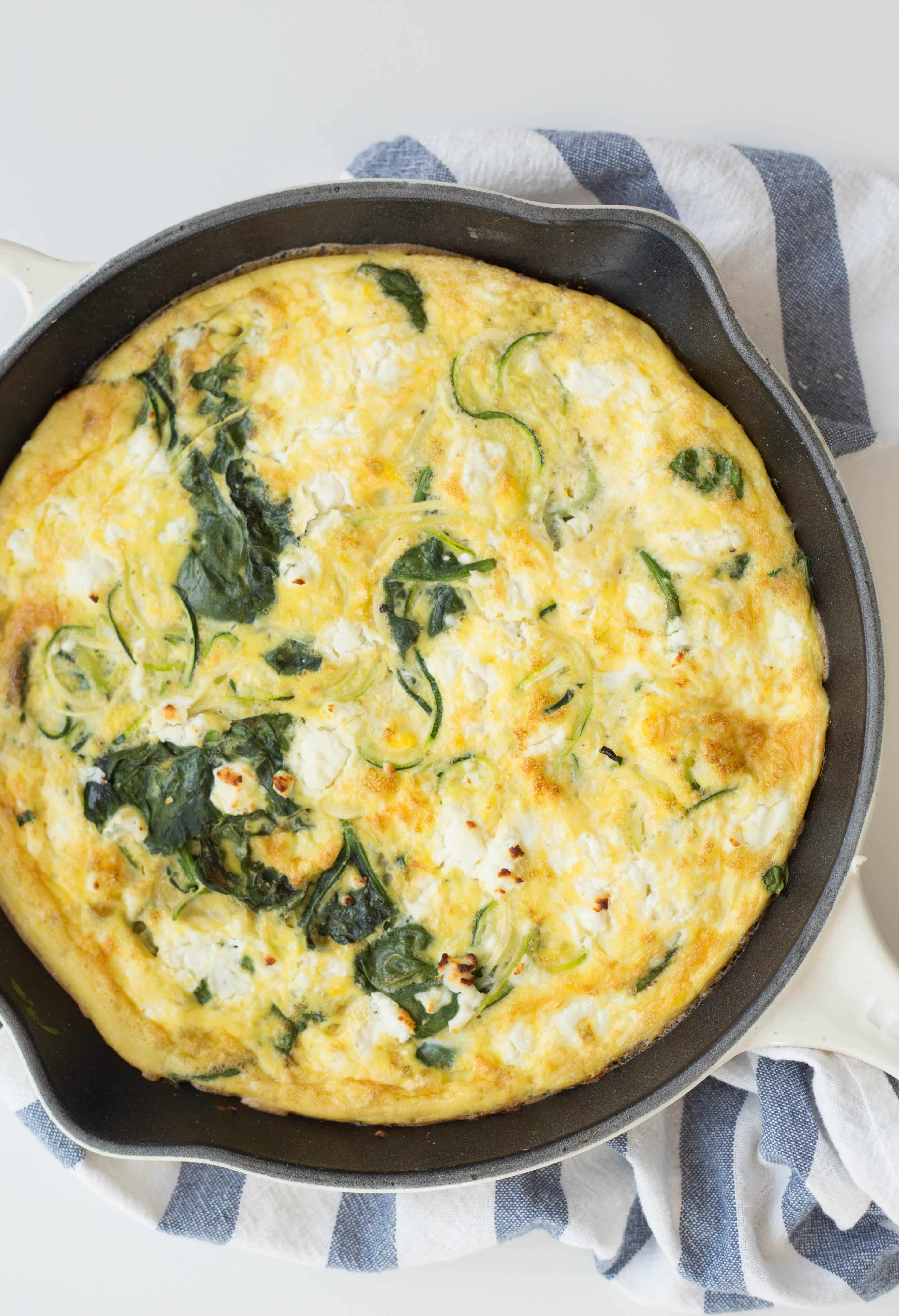 Zucchini Noodle and Spinach Frittata with Goat Cheese