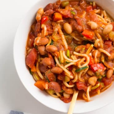 Easy Zucchini Noodle and Bean Chili