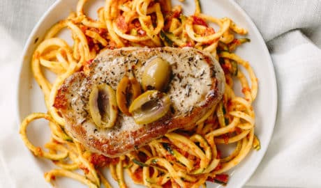 Thyme Pork Chops with Sundried Tomato Zucchini Noodles