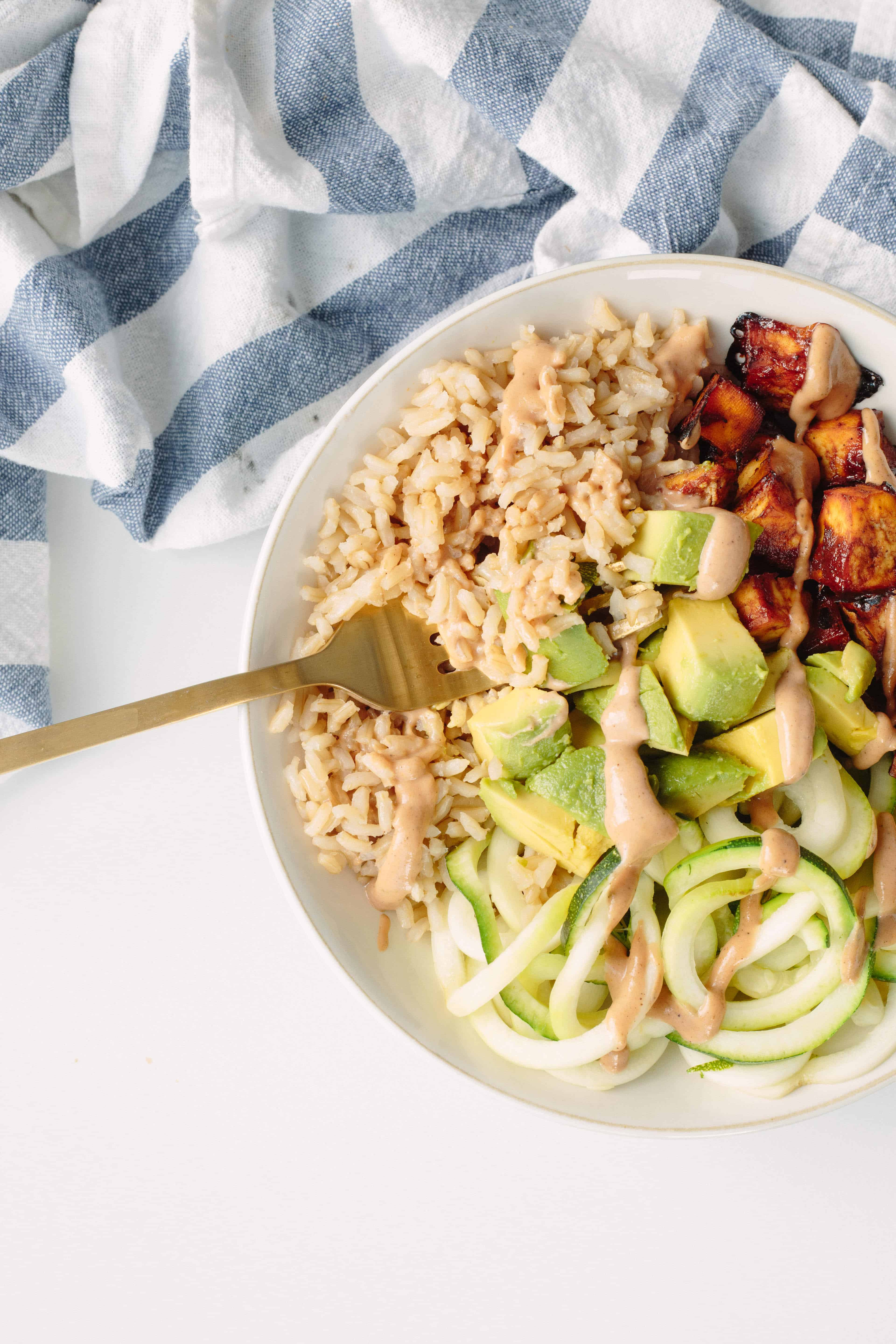 BBQ Baked Tofu and Brown Rice Bowls with Zucchini Noodles
