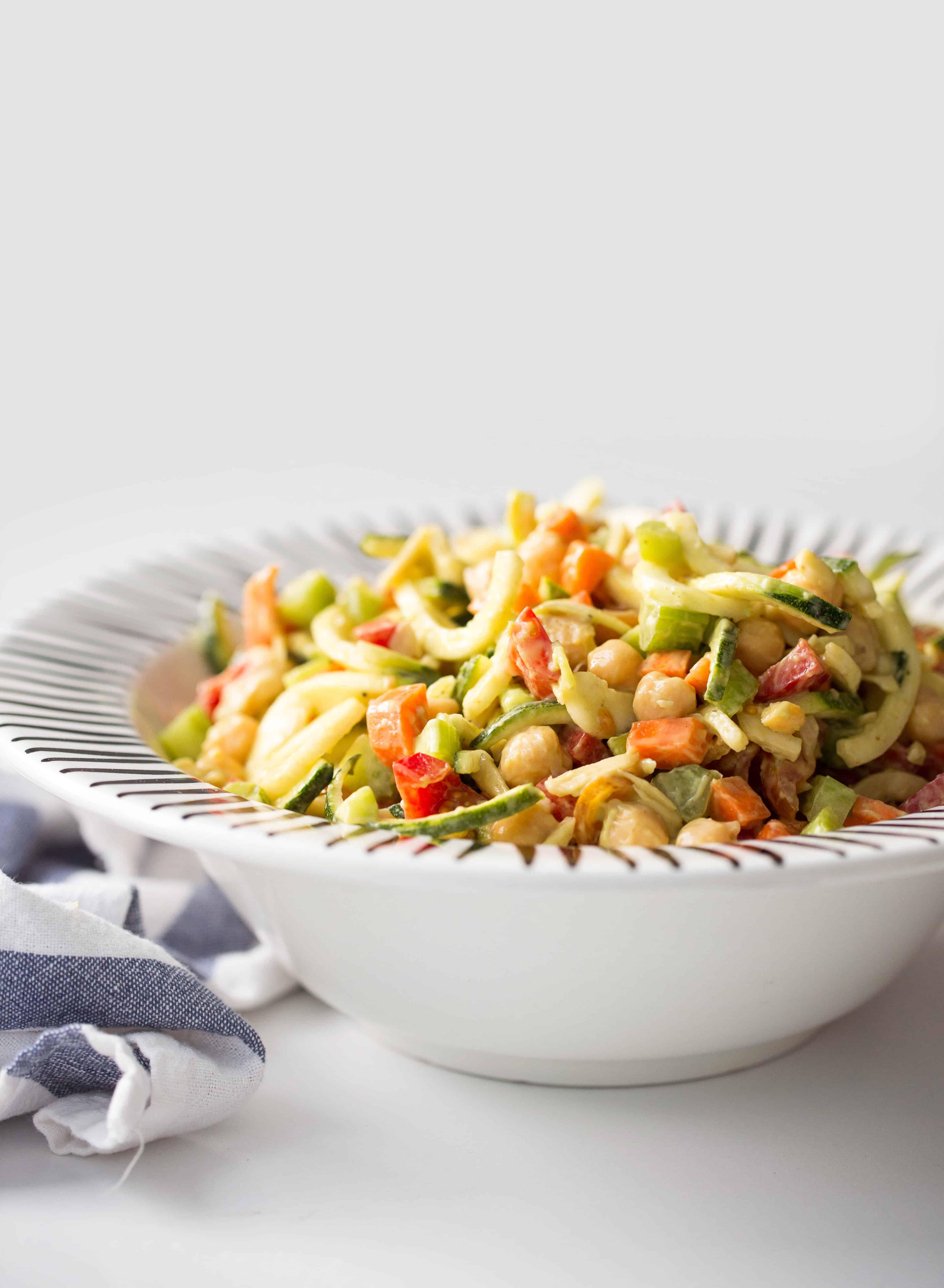 Chopped Zucchini Pasta Salad with Avocado-Mustard Dressing