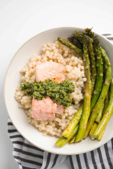 Poached Salmon with Chimichurri and Pearl Couscous: #BeyondInspiralized