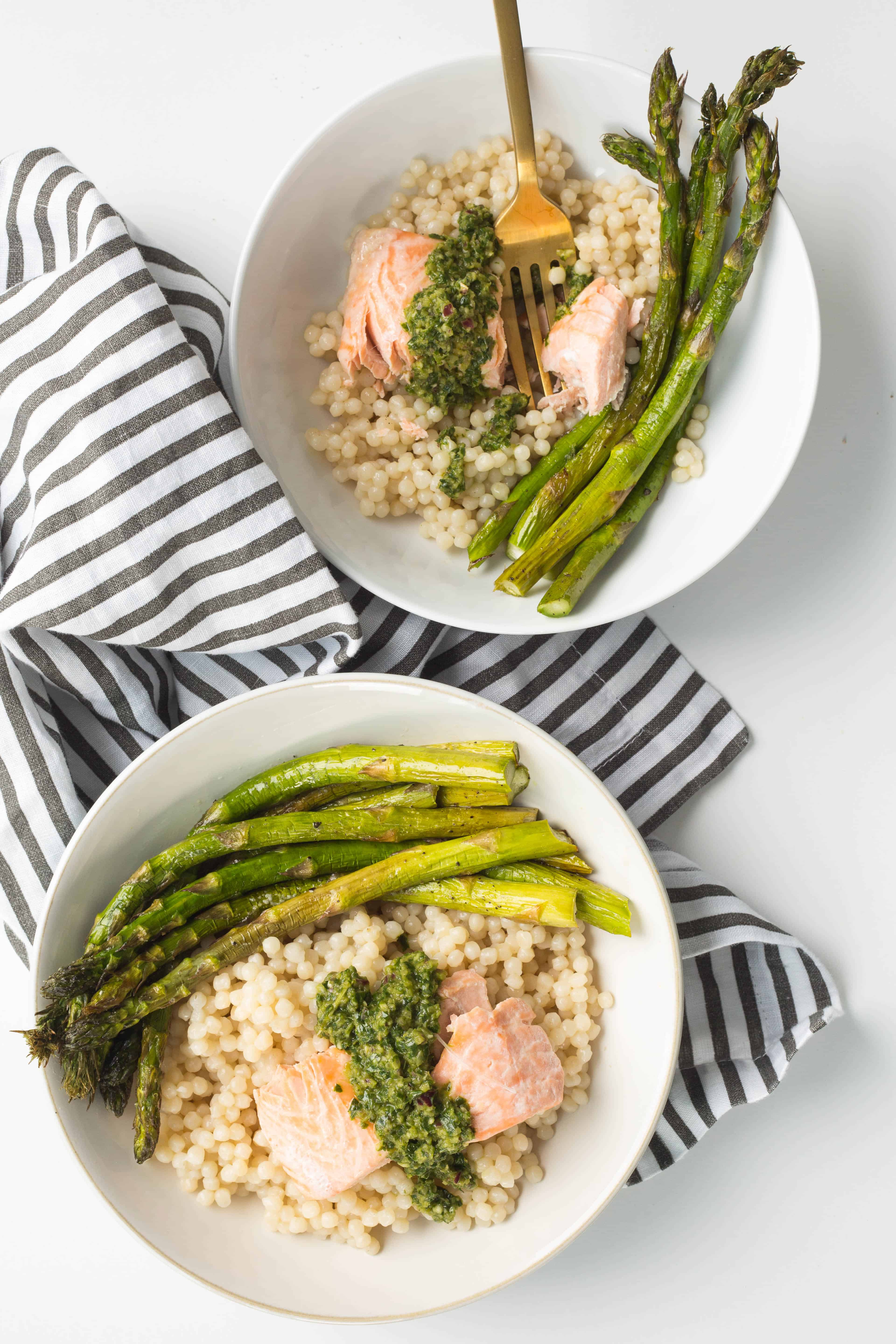 Poached Salmon with Chimichurri and Pearl Couscous