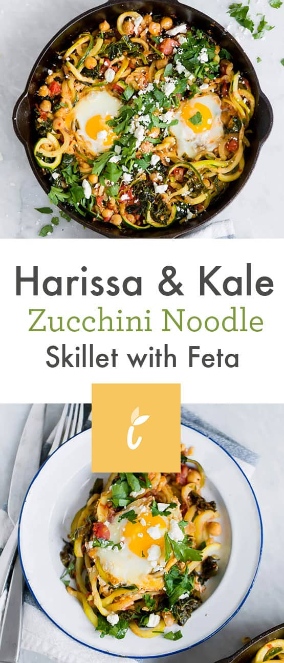 Harissa & Kale Zucchini Noodle Skillet with Feta