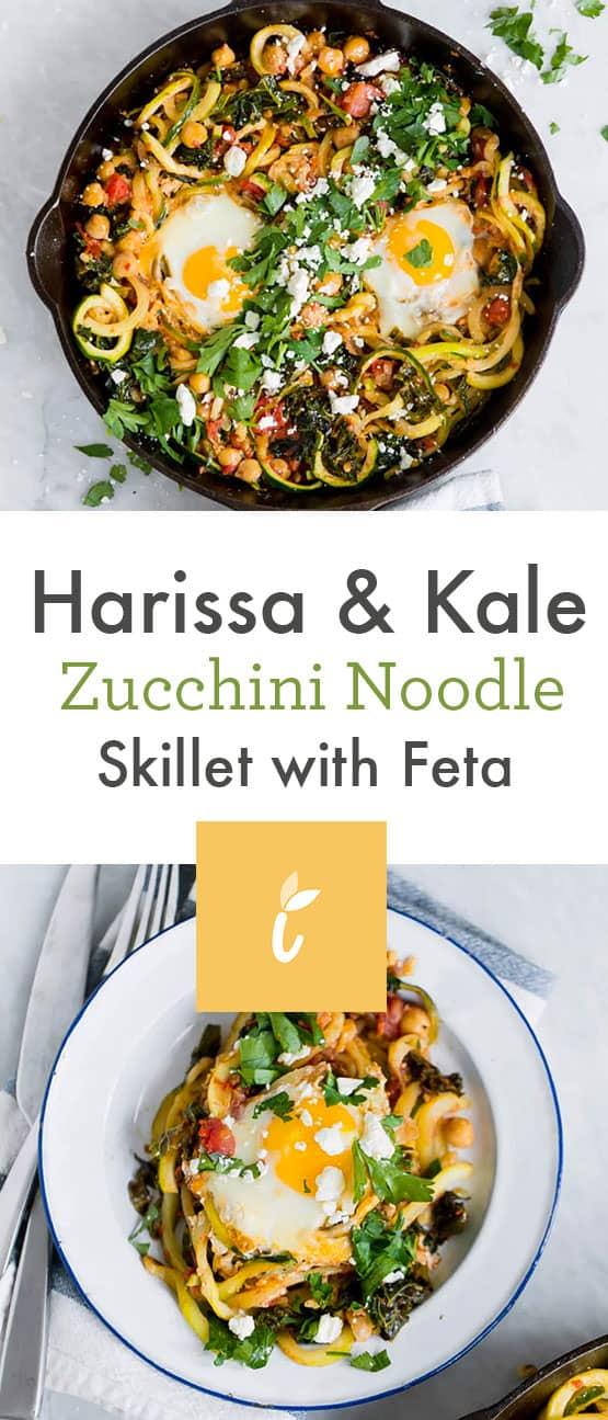 Harissa & Kale Zucchini Noodle Skillet with Feta