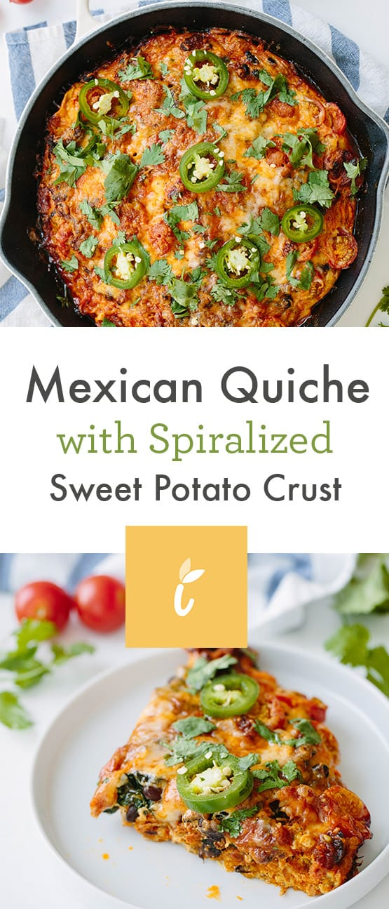 Mexican Quiche with Spiralized Sweet Potato Crust