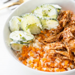Riced Sweet Potato and Cauliflower with BBQ Chicken and Dill-Cucumber Noodle Salad