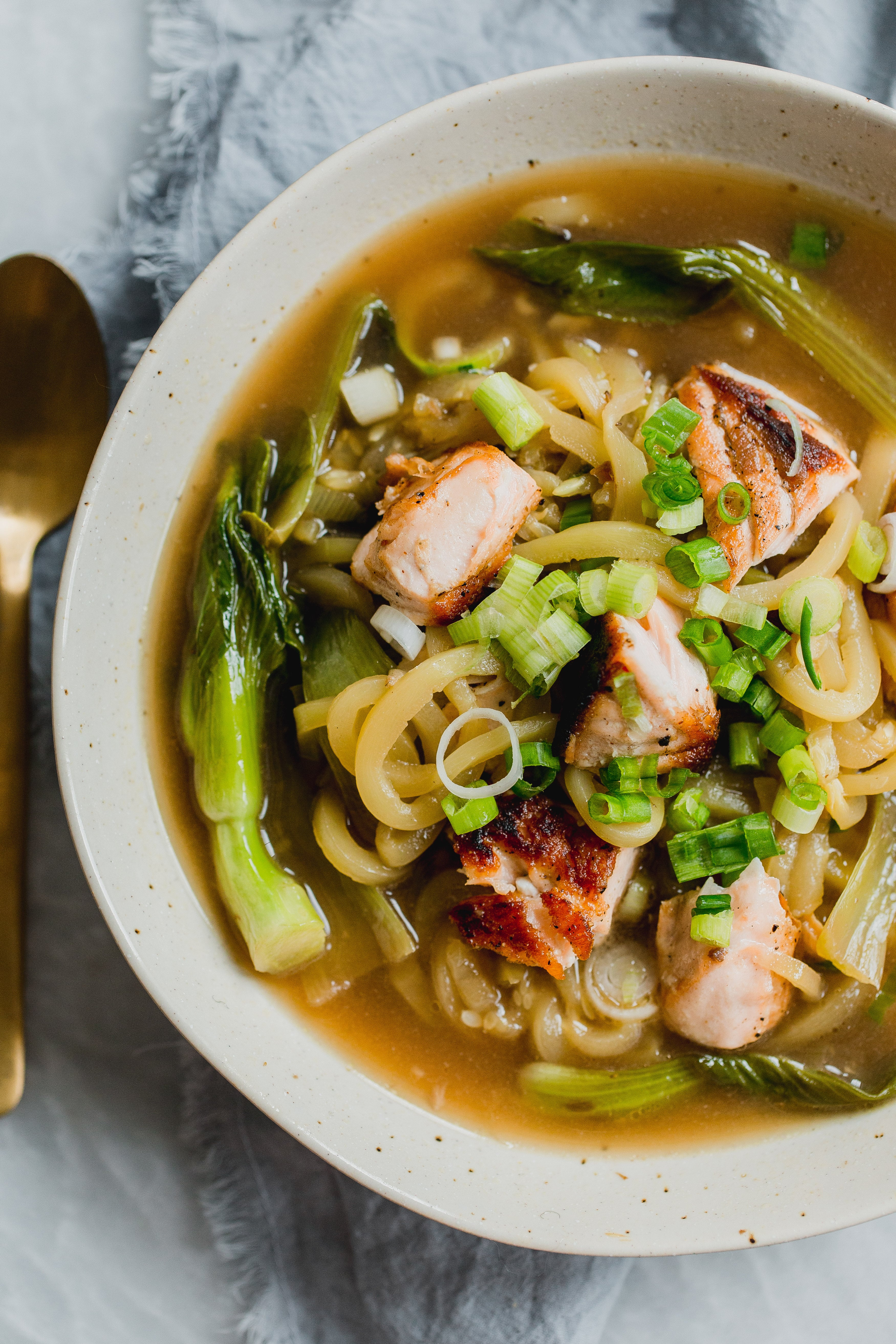 Garlic Ginger Zucchini Noodle Bowl with Salmon