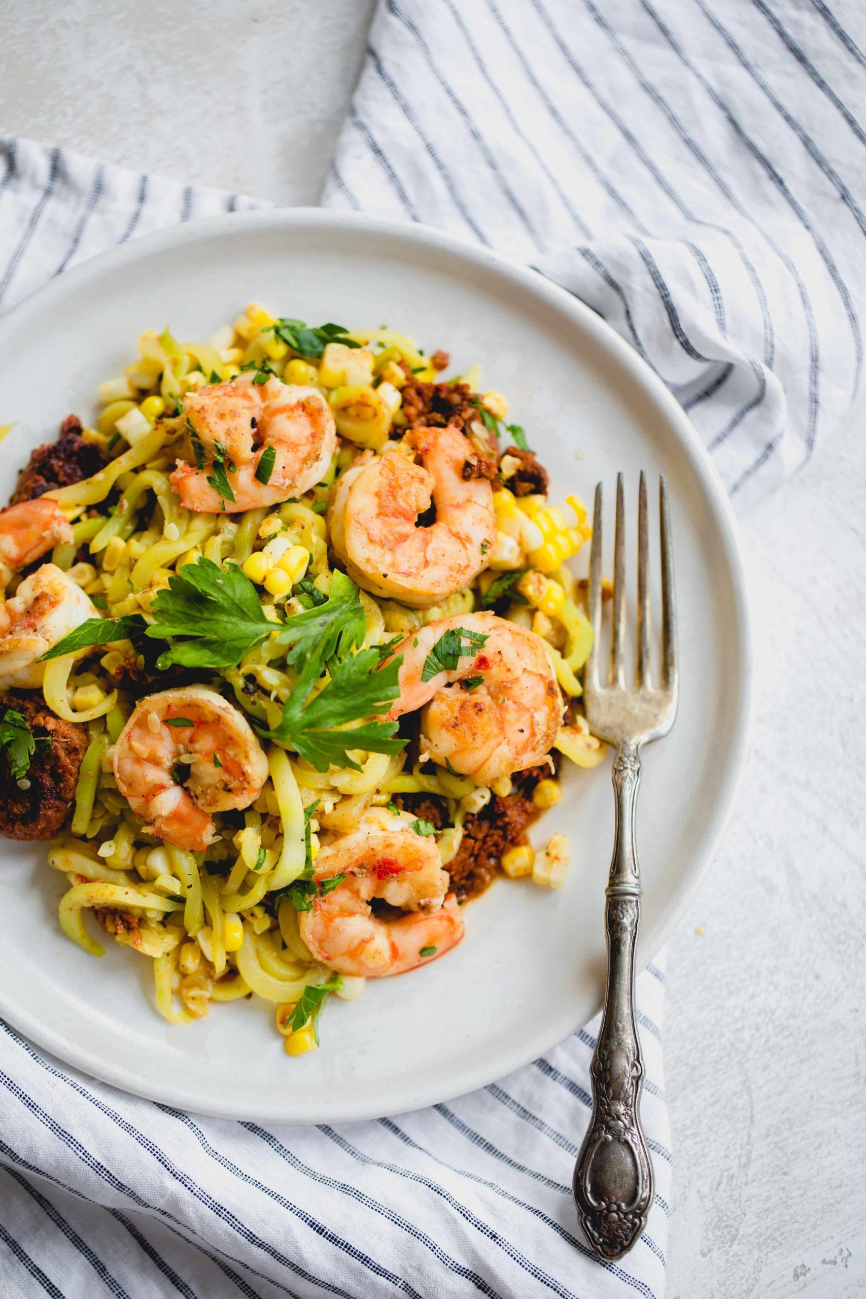 Shrimp, Chorizo and Corn Saffron Zucchini Pasta