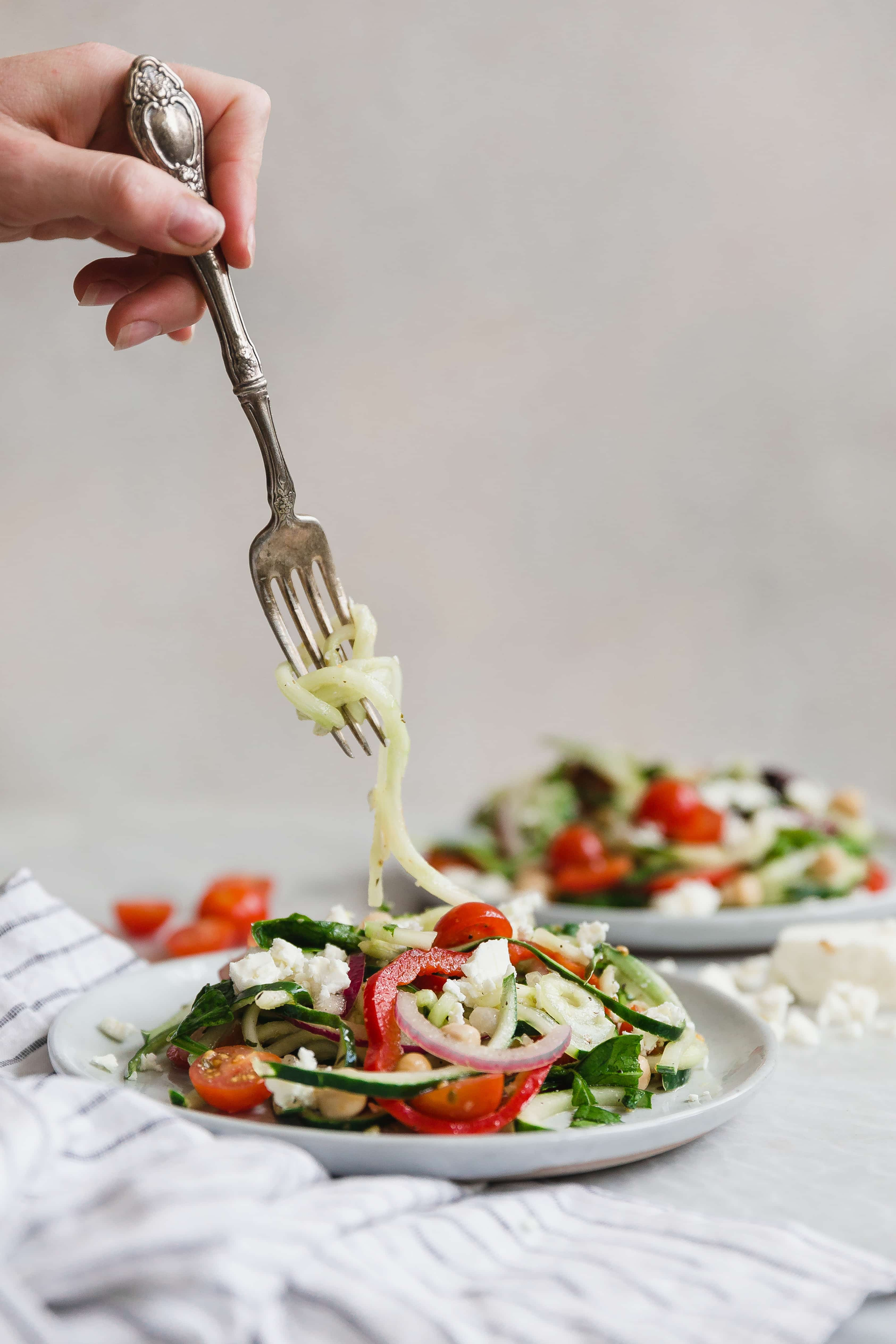 Spiralized Cucumber Greek Salad