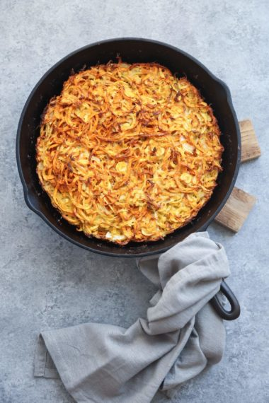 Spiralized Sweet Potato Parsnip Kugel