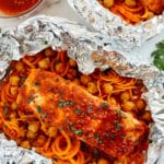 Moroccan Salmon Foil Packets with Carrot Noodles & Chickpeas