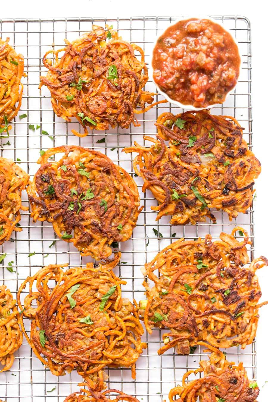 Spiralized Sweet Potato Chili Fritters
