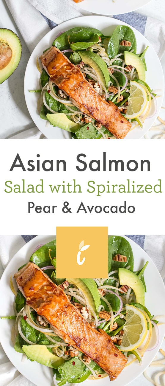 Asian Salmon Salad with Spiralized Pear and Avocado
