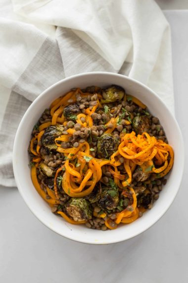 Balsamic Roasted Brussels Sprouts and Spiralized Butternut Squash with Lentils and Smashed Walnut Vinaigrette
