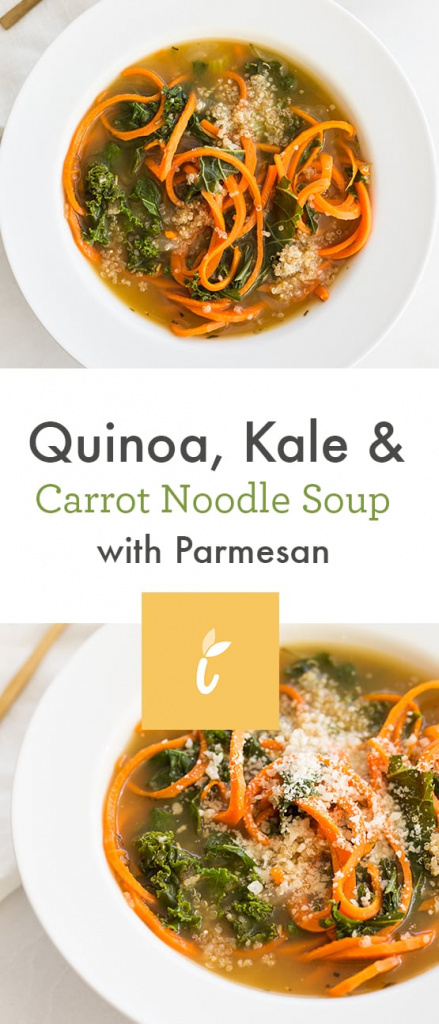 Quinoa, Kale and Carrot Noodle Soup with Parmesan