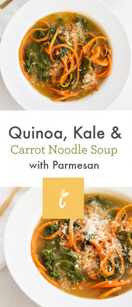 Quinoa, Kale and Carrot Noodle Soup with Parmesan