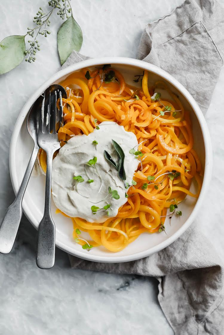 Spiralized Butternut Squash with Creamy Cashew Alfredo
