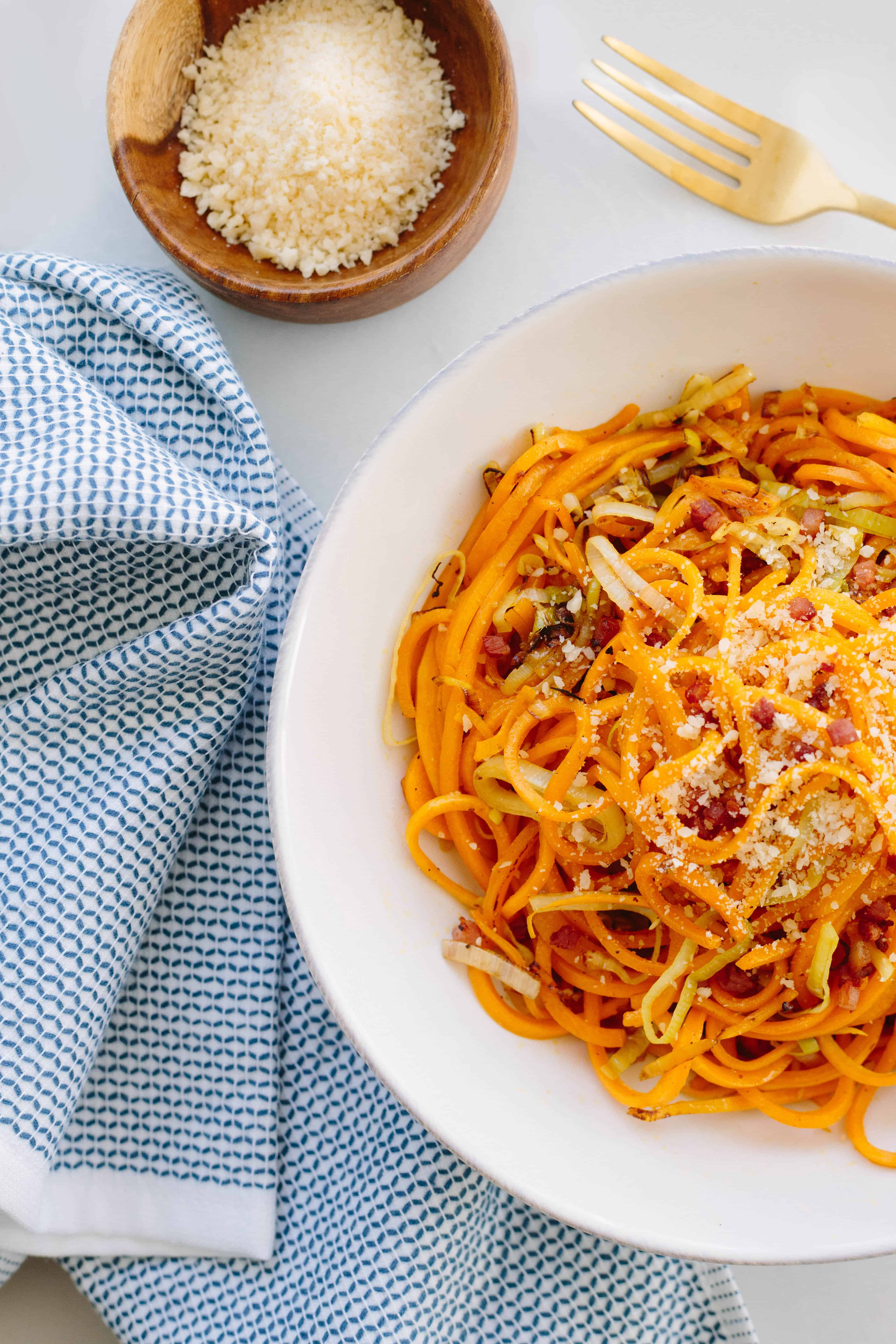 Butternut Squash Pasta with Leeks and Pancetta