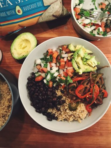 Vegan Burrito Bowls with Spiralized Peppers and Onions