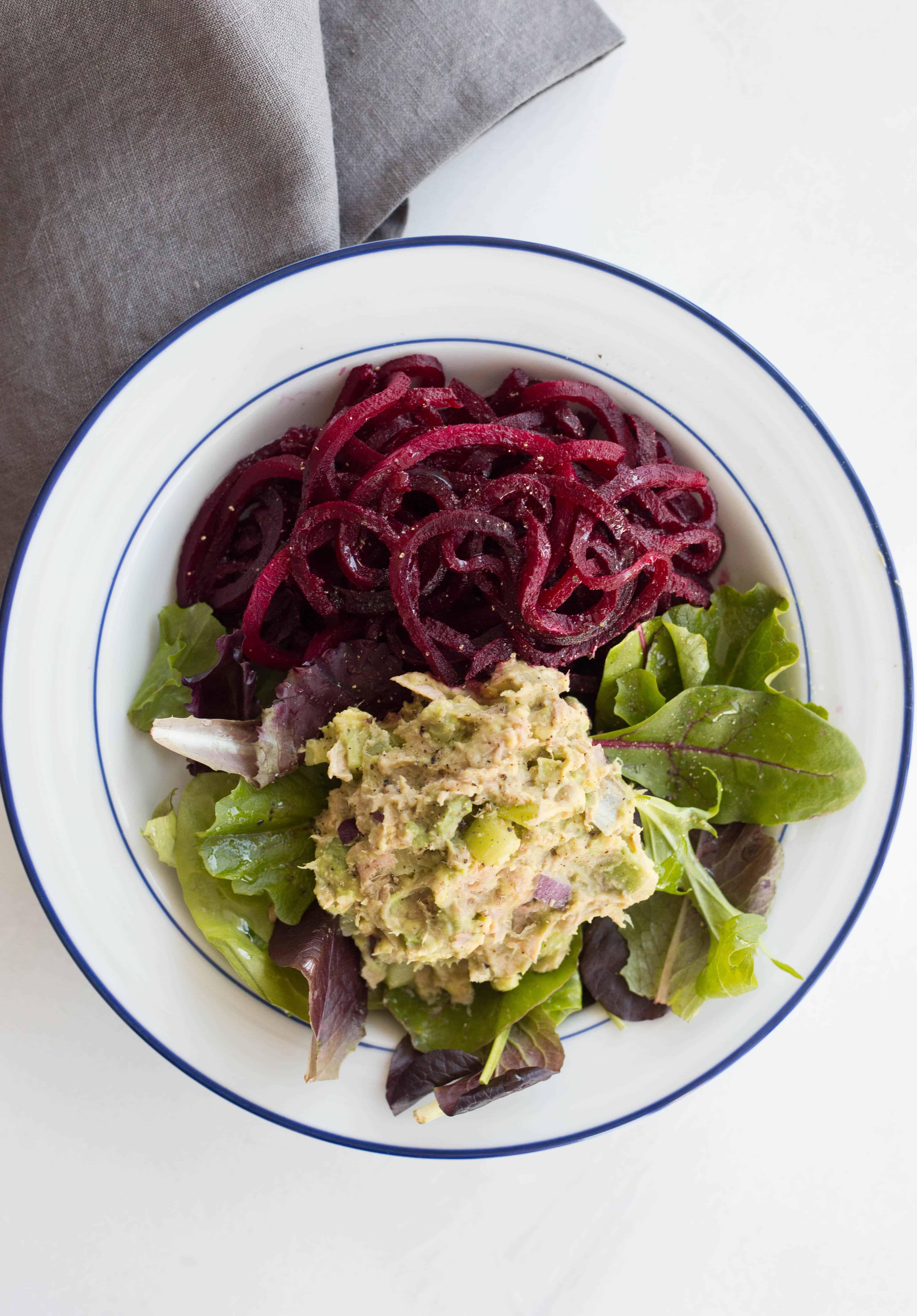 Avocado-Tuna Salad with Beet Noodles