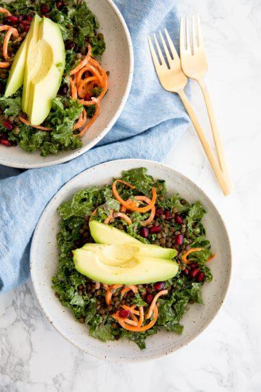 Vegan Kale Caesar Salad with Lentils