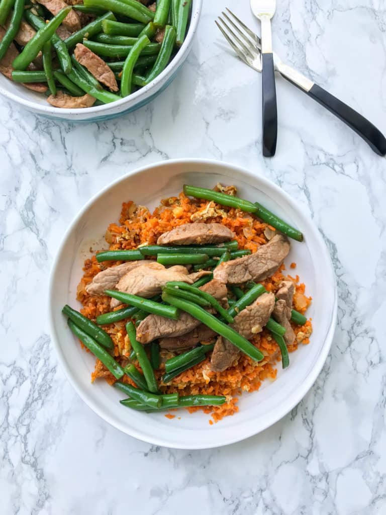 Pork and Green Bean Stir Fry with Sweet Potato Fried Rice