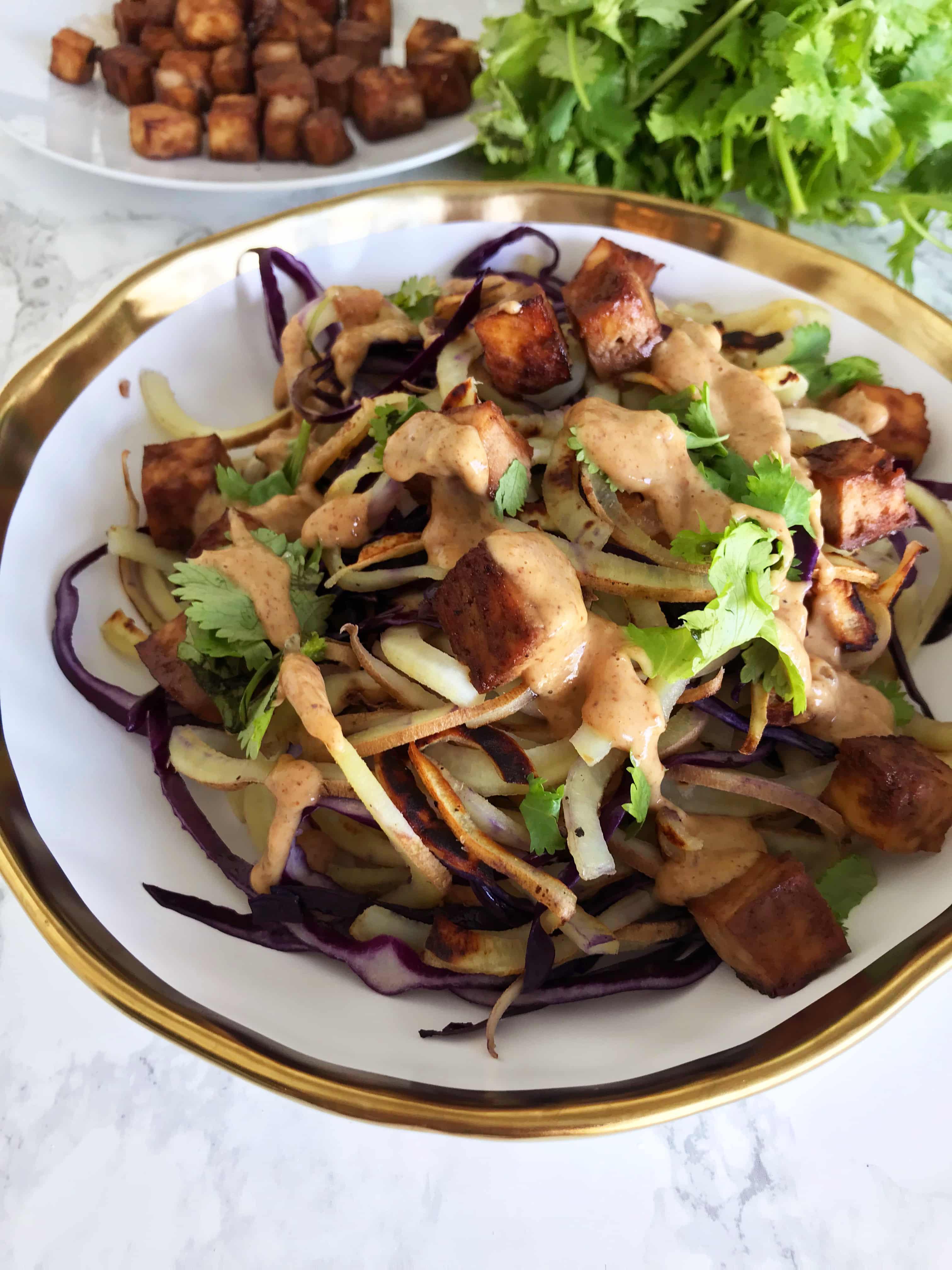 Thai Peanut Sweet Potato Noodles with Roasted Tofu