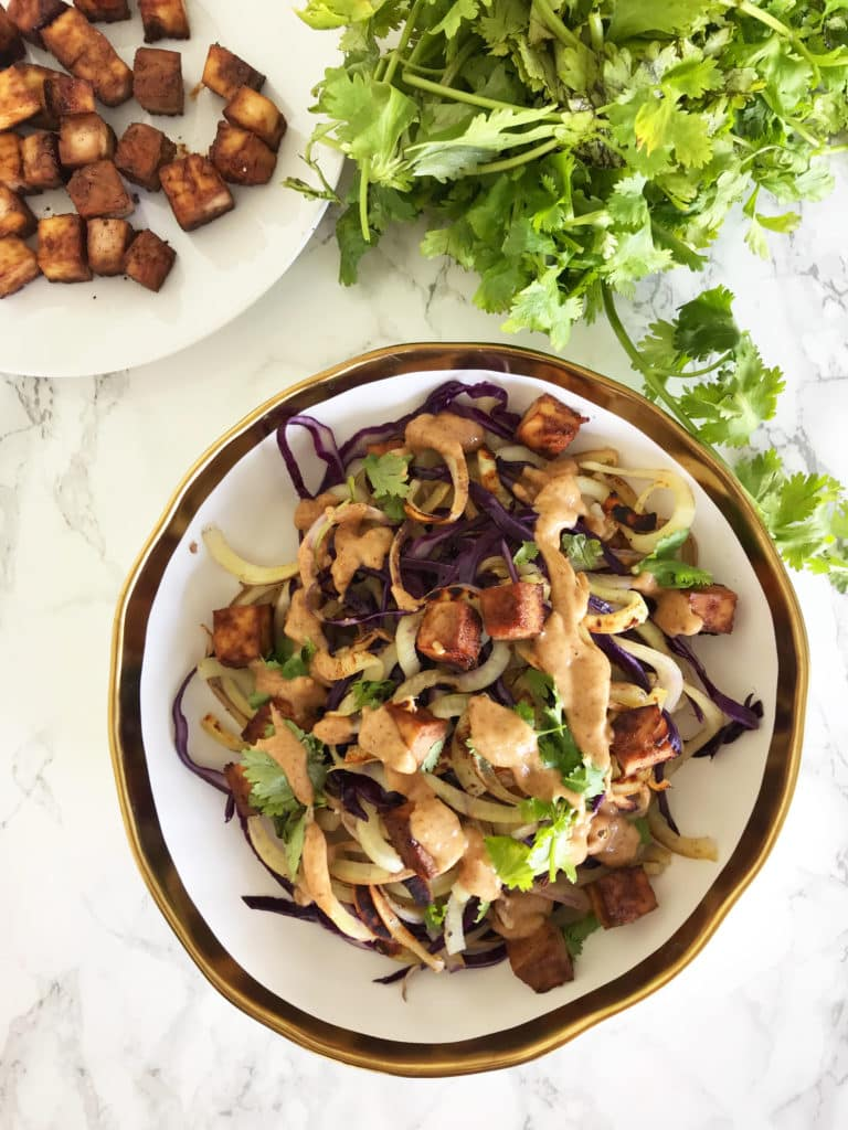 Thai Peanut Sweet Potato Noodles with Roasted Tofu