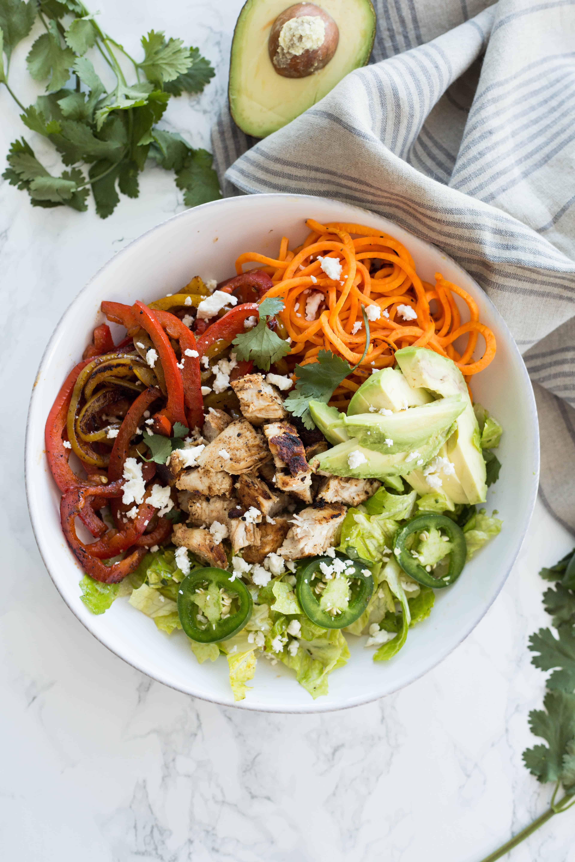 Chicken Fajita and Spiralized Sweet Potato Salad