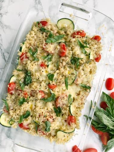 Caprese Quinoa and Spiralized Zucchini Bake
