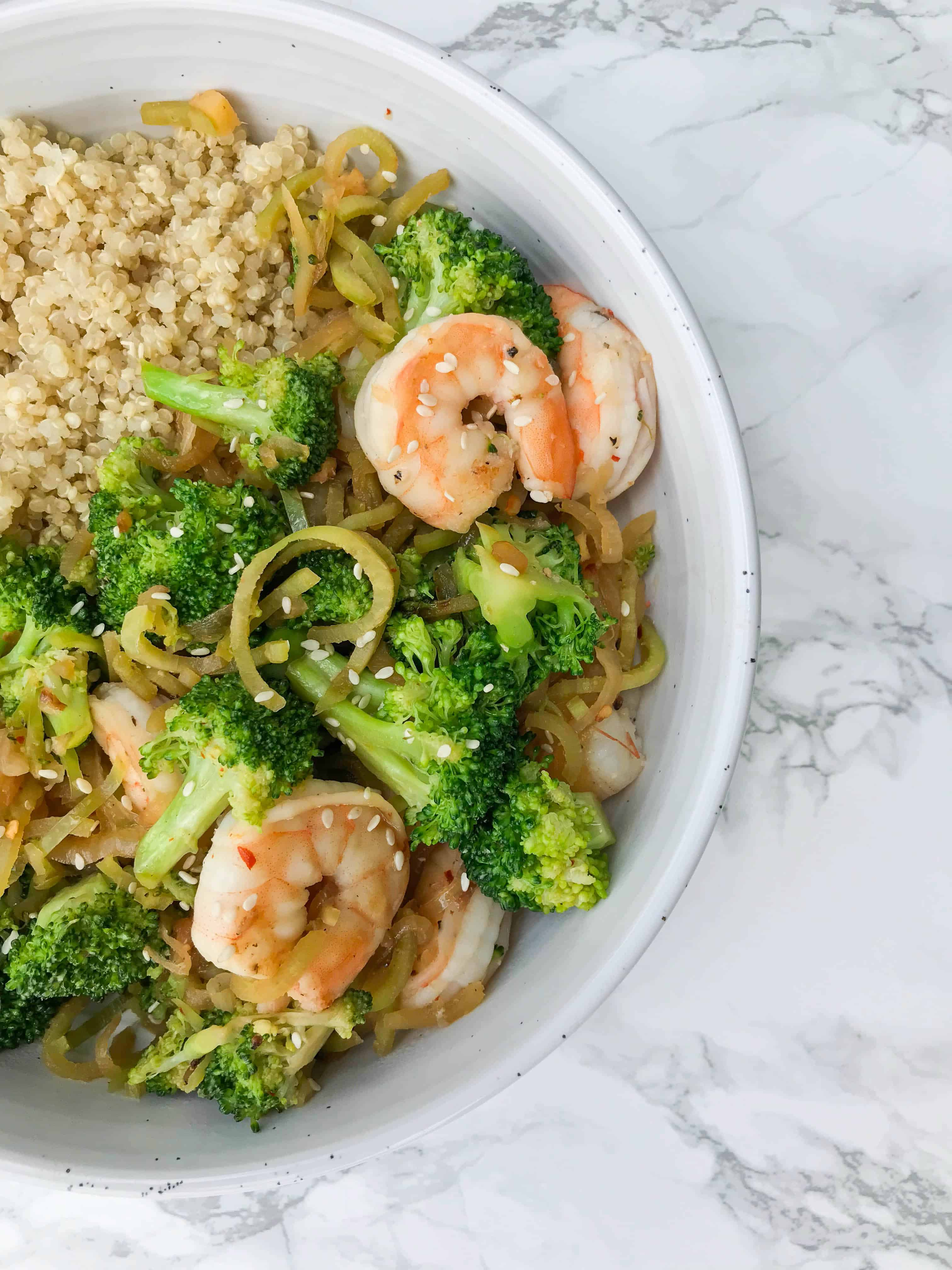 Spiralized Ginger Broccoli and Shrimp Stirfry