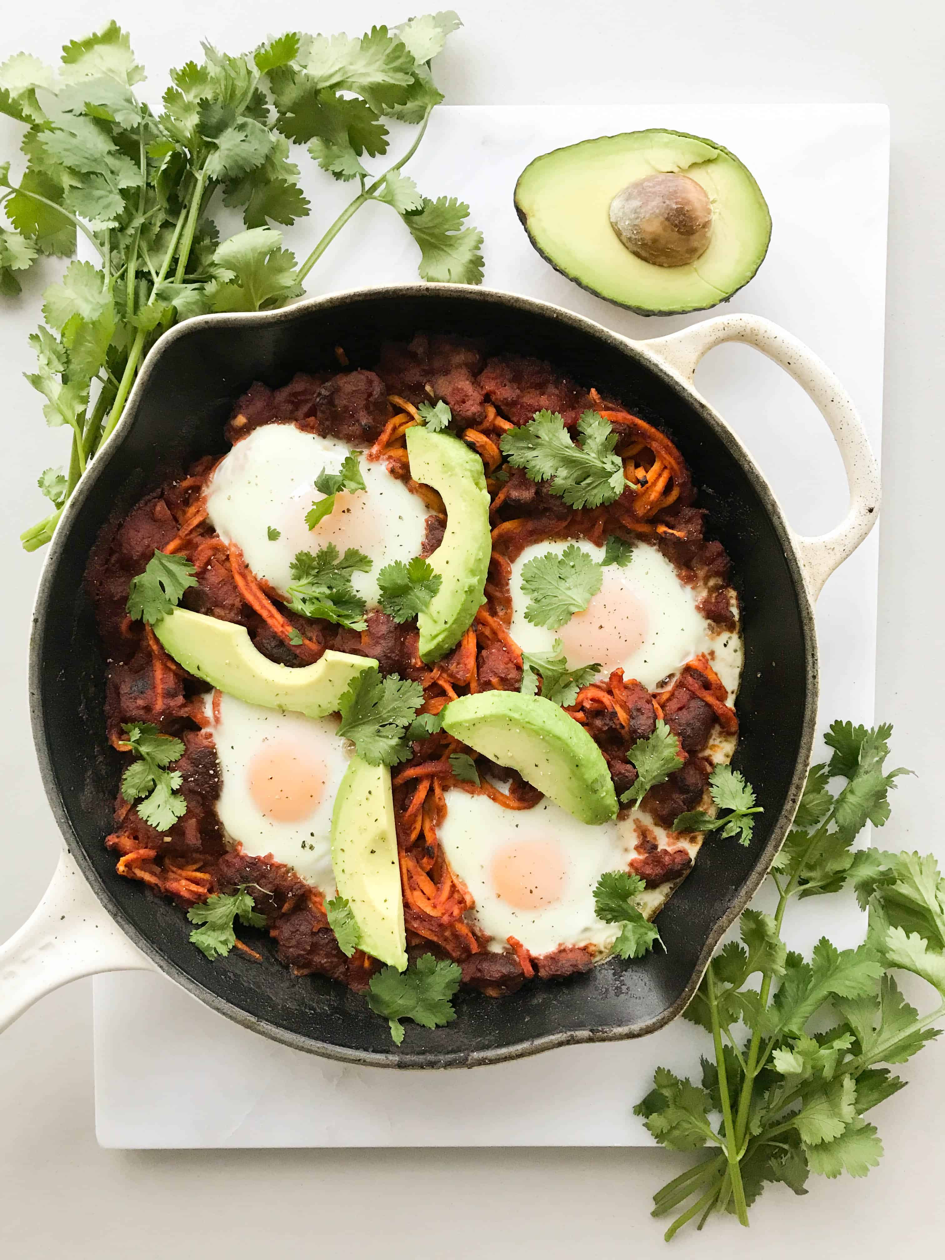 Mexican Shakshuka with Spiralized Sweet Potatoes