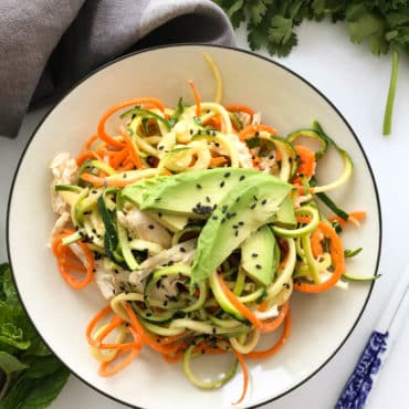 Chilled Asian Zoodle Salad with Chicken and Avocado
