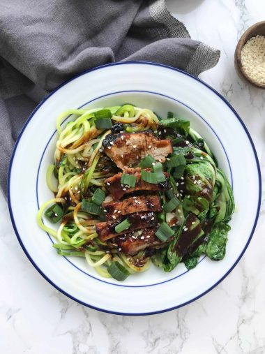 Chinese Pork and Zucchini Noodles with Bok Choy