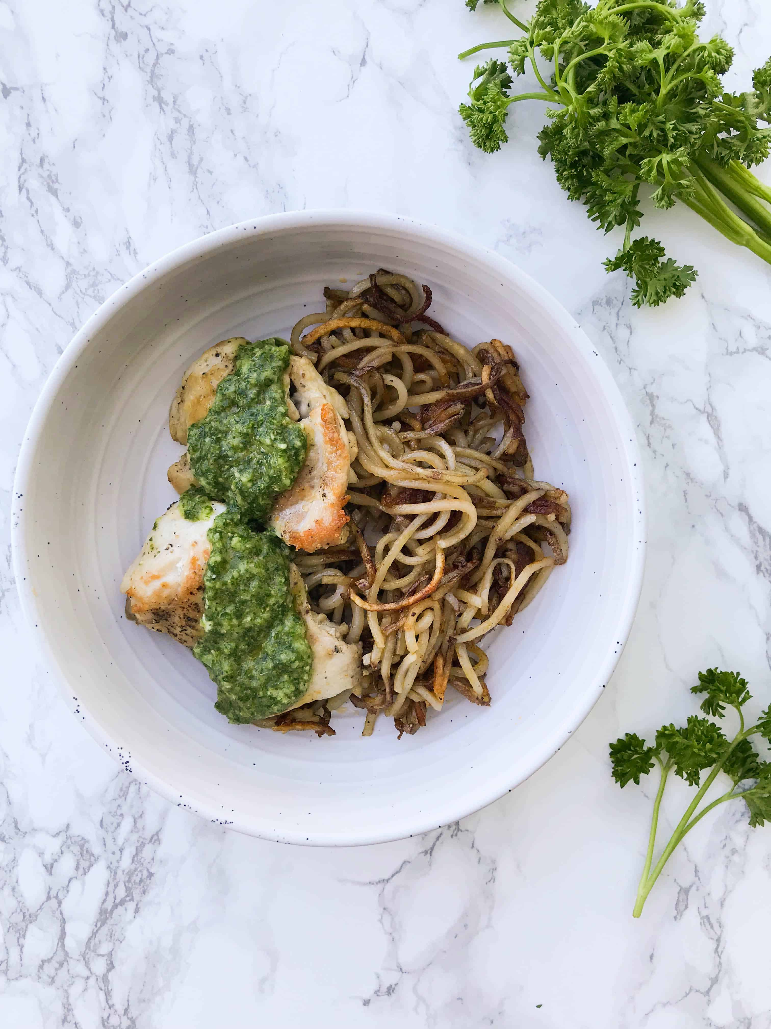 Chimichurri Chicken Thighs with Spiced Spiralized Potatoes