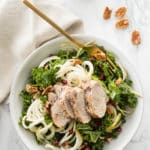 Pear Noodle, Pomegranate and Kale Salad with Roasted Pork Tenderloin