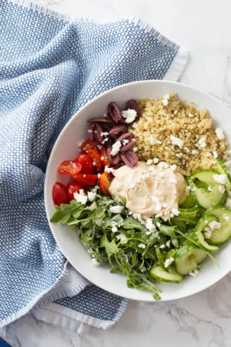 Mediterranean Quinoa and Hummus Bowls with Spiralized Cucumbers