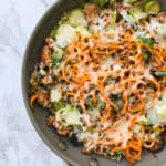 Chicken Sausage, Brussels Sprouts and Sweet Potato Skillet Bake